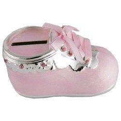473-3042 Skarbonka dziecięca z masy perłowej - różowy bucik z falbanką