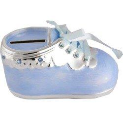 473-3043 Skarbonka dziecięca z masy perłowej - niebieski bucik z falbanką