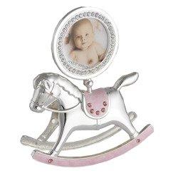 473-3183 Ramka dziecięca z masy perłowej - różowa, konik