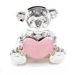 473-3288 Skarbonka dziecięca z masy perłowej - różowa, miś