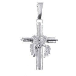 Krzyżyk srebrny z całunem MO036