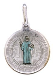 Medalik srebrny (1,6 g) - Święty Benedykt wzór klasyczny IHS MK008