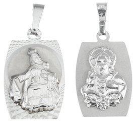 Medalik srebrny diamentowy - Matka Boska Szkaplerzna Szkaplerz dwustronny MD032
