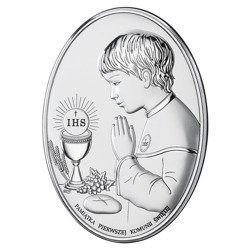 Obrazek Srebrny Pamiątka I Komunii dla chłopca owal z podpisem DS05O