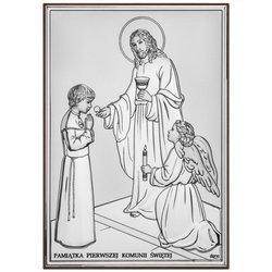 Obrazek Srebrny Pamiątka I Komunii dla chłopca prostokąt z podpisem Dono DS31O