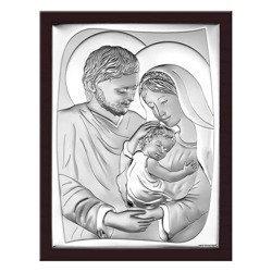 Obrazek Srebrny Święta Rodzina drewniana ramka 6545WM