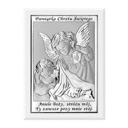 Obrazek srebrny Anioł Stróż Pamiątka Chrztu 6572W
