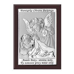 Obrazek srebrny Anioł Stróż Pamiątka Chrztu 6572WM