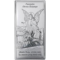 Obrazek srebrny Anioł na kładce Pamiątka Chrztu Świętego DS43