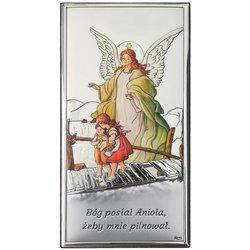 Obrazek srebrny Anioł na kładce Pamiątka Chrztu Świętego DS44C