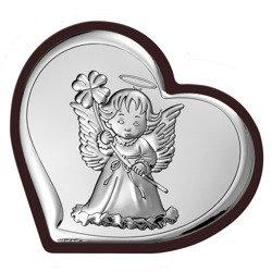 Obrazek srebrny Aniołek Pamiątka Chrztu 6447WM