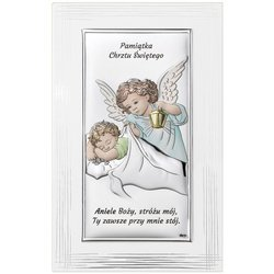 Obrazek srebrny Aniołek Pamiątka Chrztu Świętego DS01FC