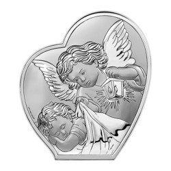 Obrazek srebrny Aniołek nad dzieciątkiem z latarenką Pamiątka Chrztu Świętego 6591B