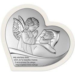 Obrazek srebrny Aniołek nad dzieckiem z podpisem 6728SW