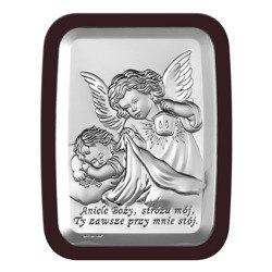 Obrazek srebrny Aniołek z latarenką z podpisem 6441WM