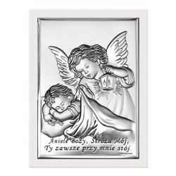 Obrazek srebrny Aniołek z latarenką z podpisem 6442W