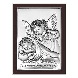 Obrazek srebrny Aniołek z latarenką z podpisem 6442WM