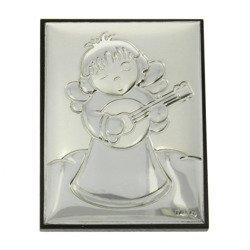 Obrazek srebrny Aniołek z mandoliną G7253