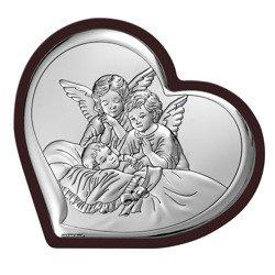 Obrazek srebrny Aniołki nad dzieckiem 6450WM