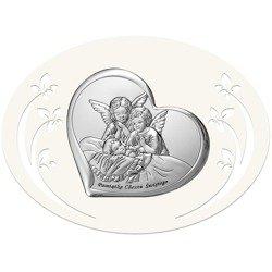 Obrazek srebrny Aniołki nad dzieckiem 6451P