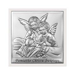 Obrazek srebrny Aniołki nad dzieckiem z podpisem i ramką 6444W