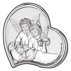 Obrazek srebrny Aniołki z latarenką nad dzieckiem DS24