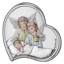 Obrazek srebrny Aniołki z latarenką nad dzieckiem DS24C