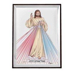 Obrazek srebrny Jezus Miłosierny – Jezu Ufam Tobie 31136CER