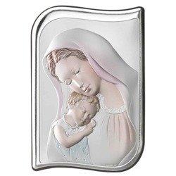 Obrazek srebrny Matka Boska z dzieciątkiem 82100COL