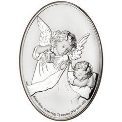 Pamiątka na chrzest Obrazek srebrny Aniołek Twój Anioł Stróż owal DS28