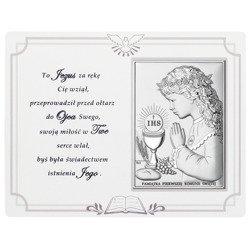 Panel z obrazkiem srebrnym Pamiątka I Komunii dla dziewczynki DS08041A