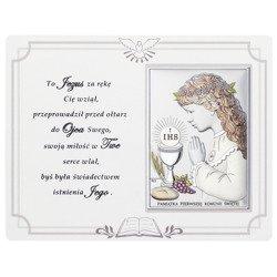 Panel z obrazkiem srebrnym Pamiątka I Komunii dla dziewczynki DS08041CA