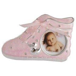 Ramka dziecięca z masy perłowej - różowa, bucik 473-3192