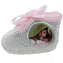 Ramka dziecięca z masy perłowej - różowa, bucik cyrkonie 473-3191