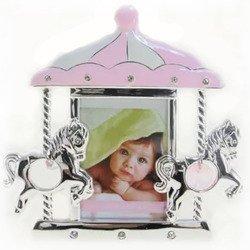 Ramka dziecięca z masy perłowej - różowa, karuzela z końmi 473-3238