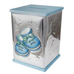 Skarbonka srebrna niebieskie buciki 21125/C