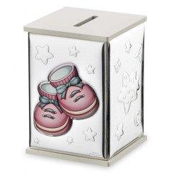 Skarbonka srebrna różowe buciki 21136/RA