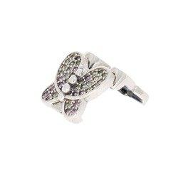 Srebrna przywieszka pr 925 Charms płaski motylek róż-białe cyrkonie PANP007