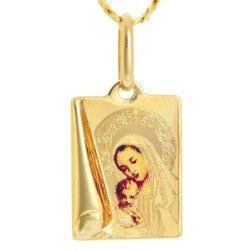 Złoty medalik pr. 585 Matka Boska z dzieciątkiem prostokąt kolor  ZM078