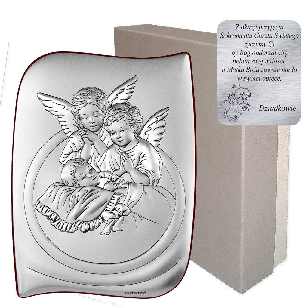 Obrazek Srebrny Aniolki Nad Dzieckiem Pamiatka Chrztu Swietego