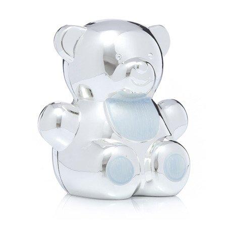 473-3137 Skarbonka z masy perłowej - niebieska, miś