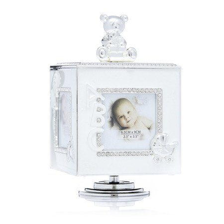 473-3283 Pudełko na biżuterię z miejscem na zdjęcia - kremowe, pozytywka