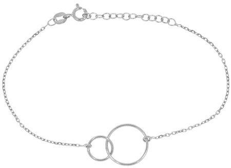 Bransoletka celebrytka - dwa kółka okręgi przecinające się srebro pr 925 CEL27