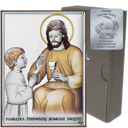 Obrazek Srebrny Pamiątka I Komunii dla chłopca prostokąt z podpisem DS45CO