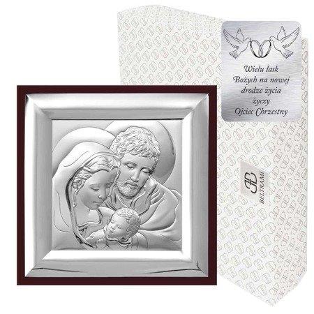 Obrazek Srebrny Święta Rodzina drewniana ramka 6365WM