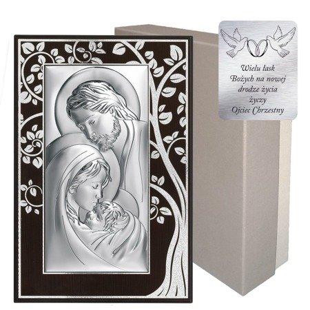 Obrazek Srebrny Święta Rodzina drewniana ramka 6380MA
