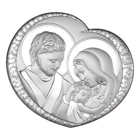 Obrazek Srebrny Święta Rodzina drewniana ramka 6562
