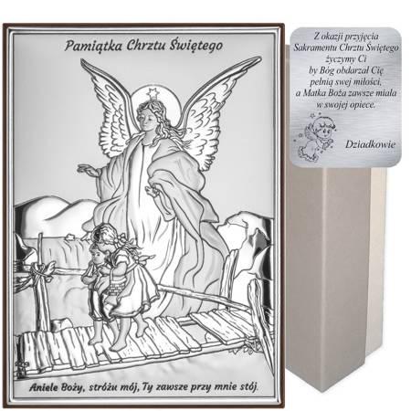 Obrazek srebrny Anioł na kładce Pamiątka Chrztu Świętego DS41