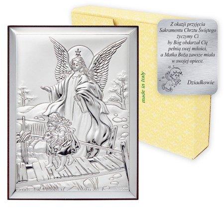 Obrazek srebrny Anioł stróż na kładce 31125