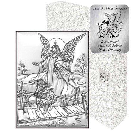 Obrazek srebrny Anioł stróż na kładce 6349